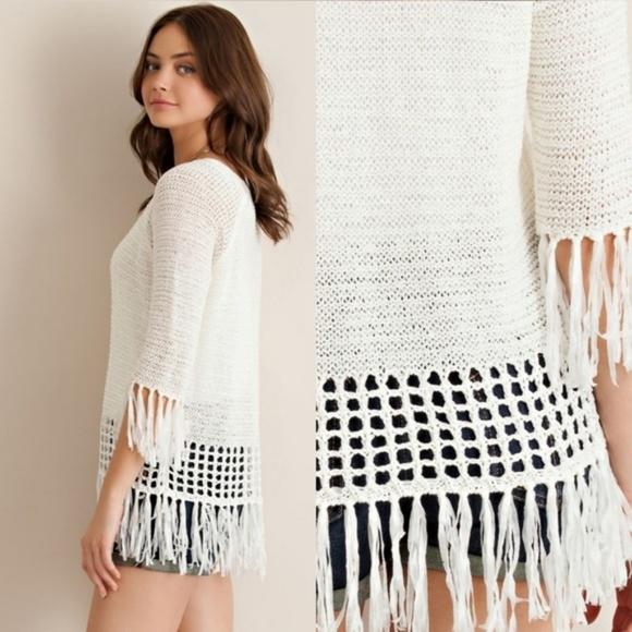 entro Sweaters - 🦙FINAL PRICE🦙 NWT~ Boutique Boho Fringe Sweater